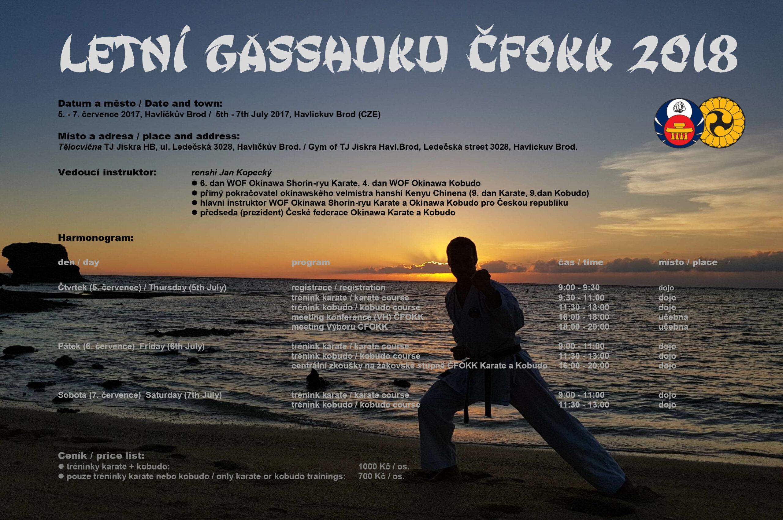 Letní národní Gasshuku ČFOKK 2018 (Okinawa Shorin-ryu Karate a Okinawa Kobudo) @ Havlíčkův Brod