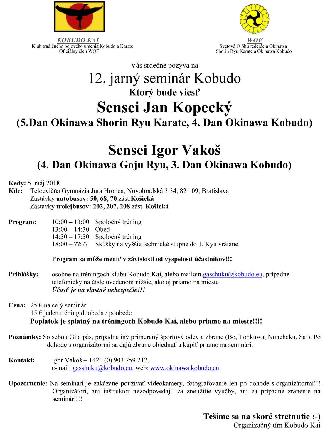 Jarní seminář Okinawa Kobudo (5.5.2018, Bratislava) @ Bratislava