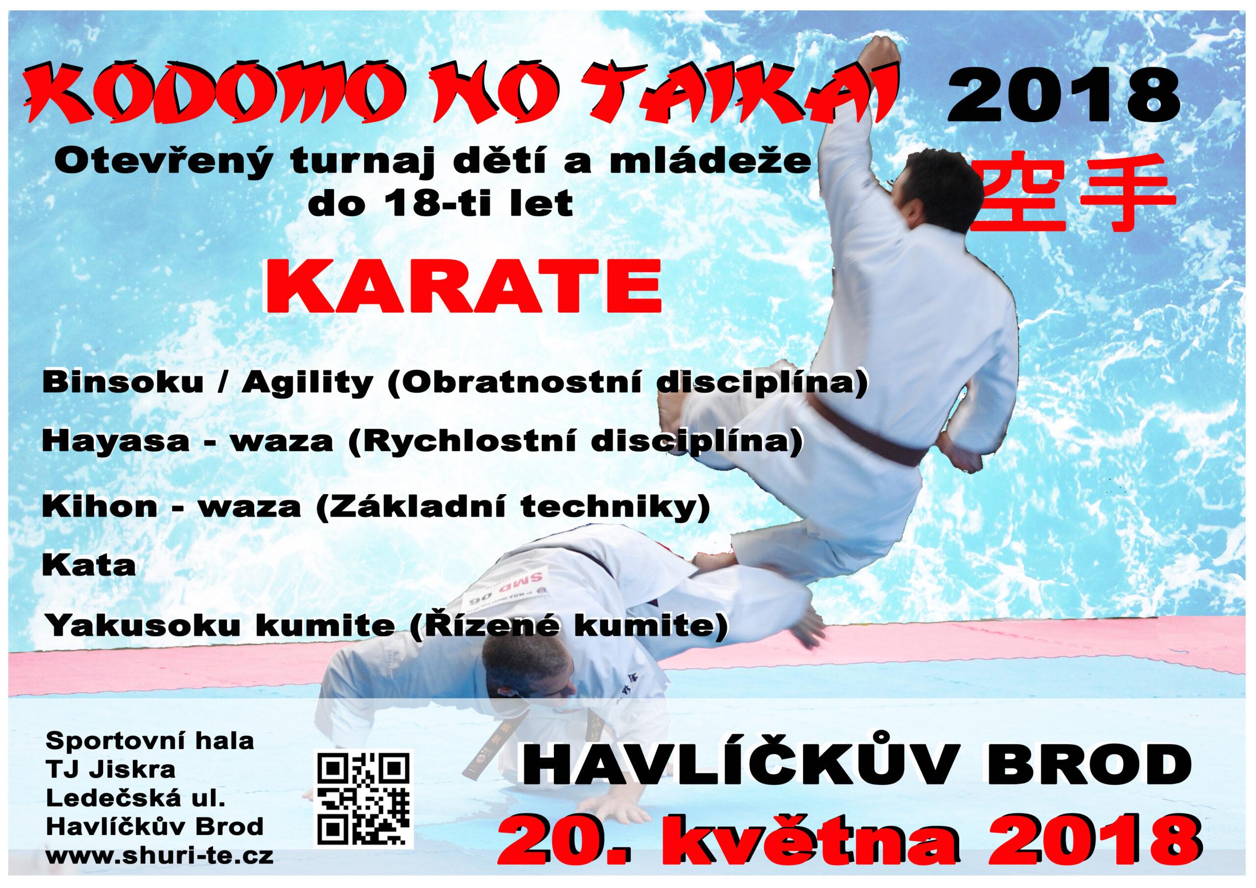 Karate Kodomo no Taikai - otevřený turnaj dětí a mládeže (20.5.2018, Havl. Brod) @ Sportovní hala TJ Jiskra HB